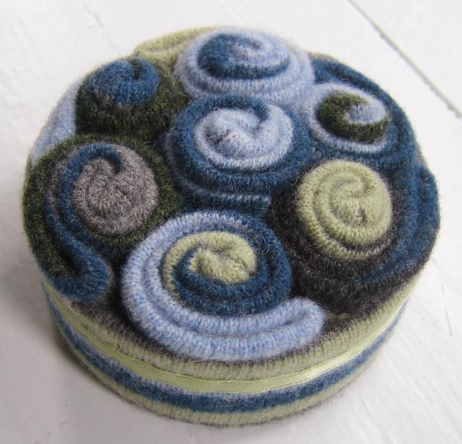 Wool felt swirl-ey pincushion