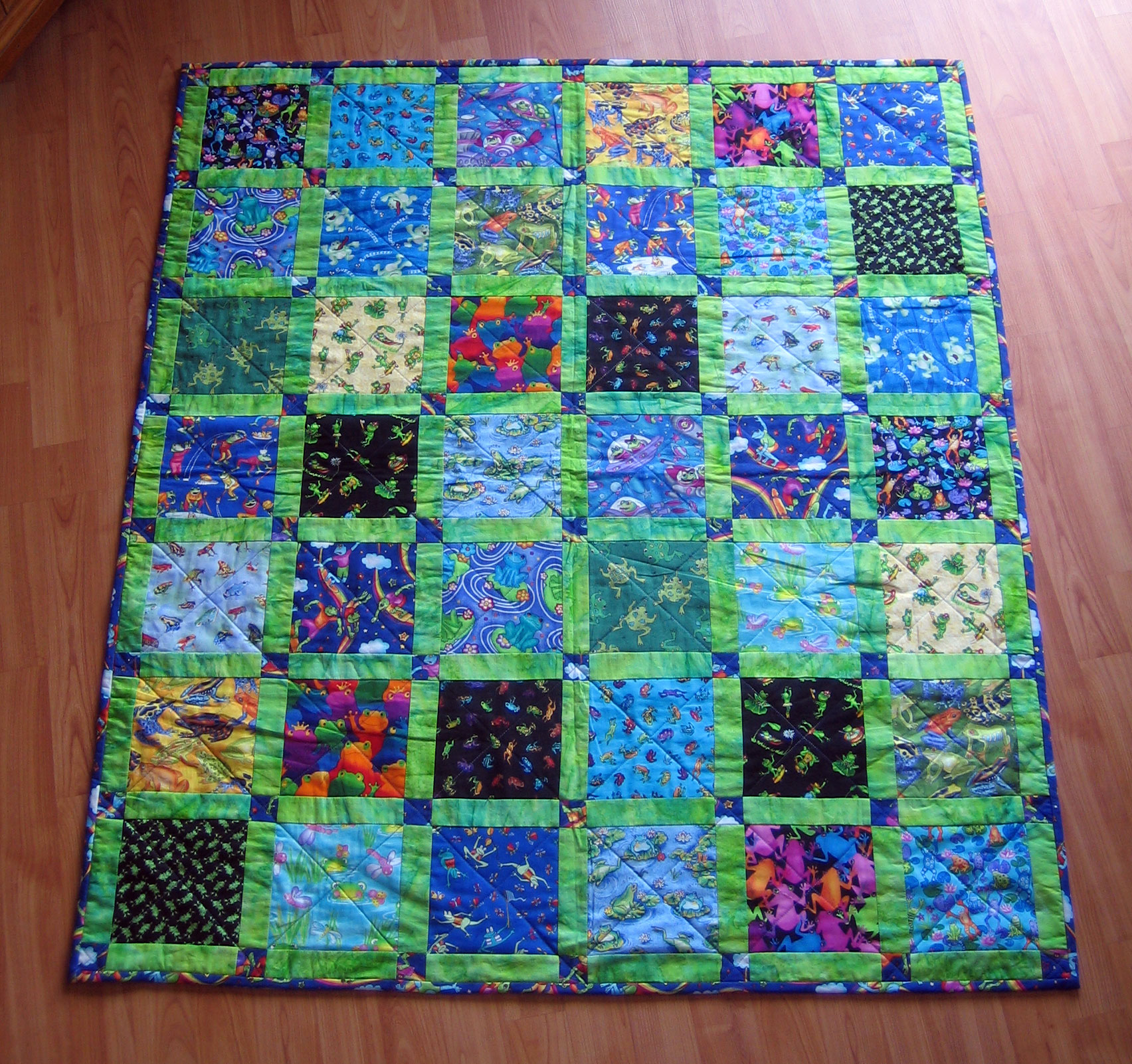 Skateboarding frogs quilt